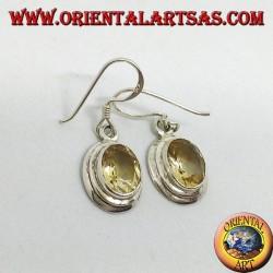 Серебряные серьги с граненым овальным натуральным топазом