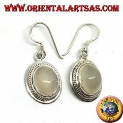 Серебряные серьги с овальным лунным камнем (adularia)