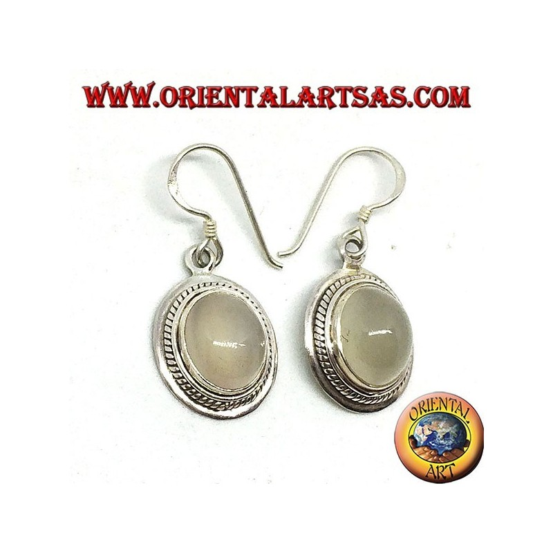 Silver earrings with oval moonstone (adularia)
