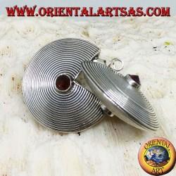 Boucles d'oreilles en argent, disque avec grenats