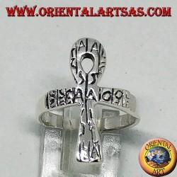 Anello in argento con ankh, chiave della vita o croce ansata