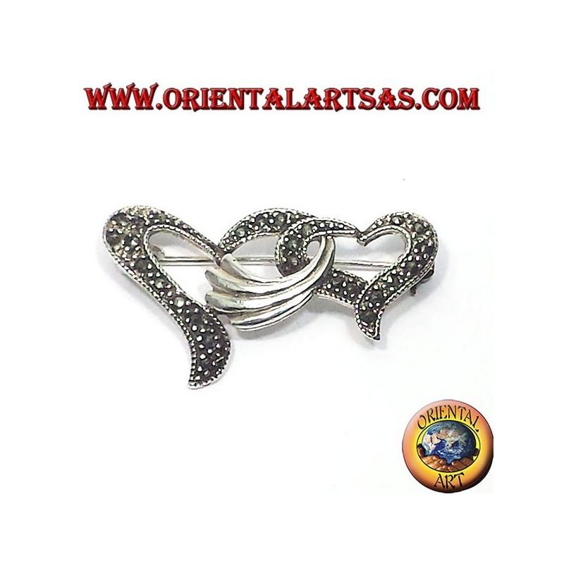 Silberbrosche Mit Markassiten Zwei Ineinander Verschlungenen Herzen