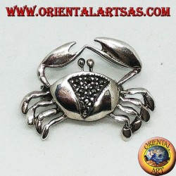 Silver brooch with crab-shaped marcasites