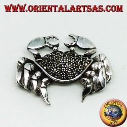 Серебряная брошь с крабовидными марказитами (большая)