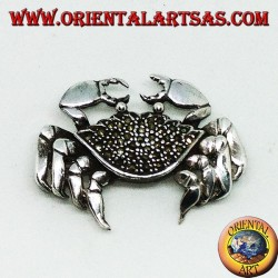 Silver brooch with crab-shaped marcasites (large)