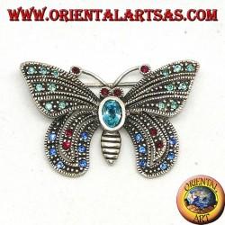 Silberbrosche mit verschiedenen Halbedelsteinen in Form eines Schmetterlings