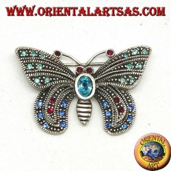 Silver brooch with assorted semiprecious stones in the shape of a butterfly