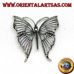 Silver brooch with butterfly-shaped marcasite