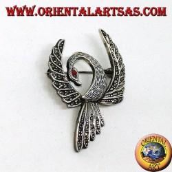 Серебряная брошь с феникс-образным марказитом