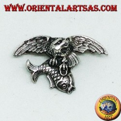 Silver brooch Osprey fishing a fish