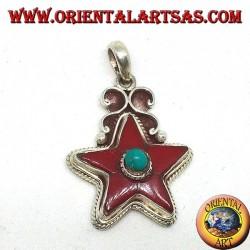 Серебряный кулон с кораллом и бирюзой звезда (натуральный)