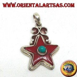 silver pendant with coral and turquoise star (natural)