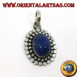 Silver pendant with natural oval lapis lazuli and the border of dots and studs