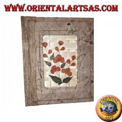 Photo album in tree bark with bas-relief of petals, 20 cm