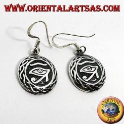 Серьга в серебряном кулоне глаза Ра Хоруса, окруженная ткачеством