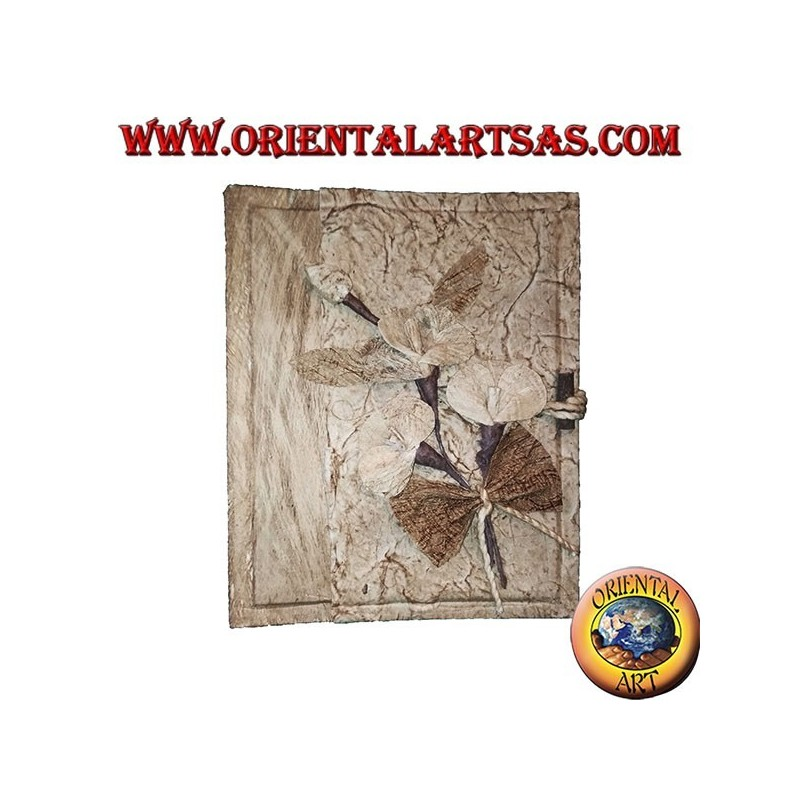 Photo album in tree bark with floral pattern, 20 cm
