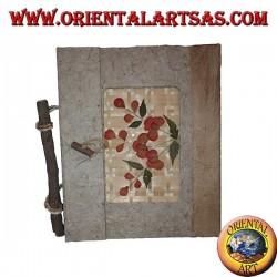 Album photo en écorce d'arbre et pétales de fleurs avec fermoir, 20 cm