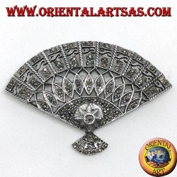 Silver brooch with fan-shaped marcassites