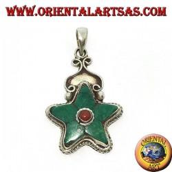 Ciondolo in argento stella con Turchese Tibetano naturale