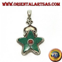 silver pendant Natural Turquoise Tibetan Star