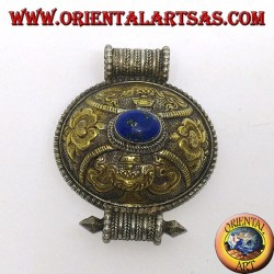 Box pendant (gao) in hand chiseled silver with gold and lapis finish
