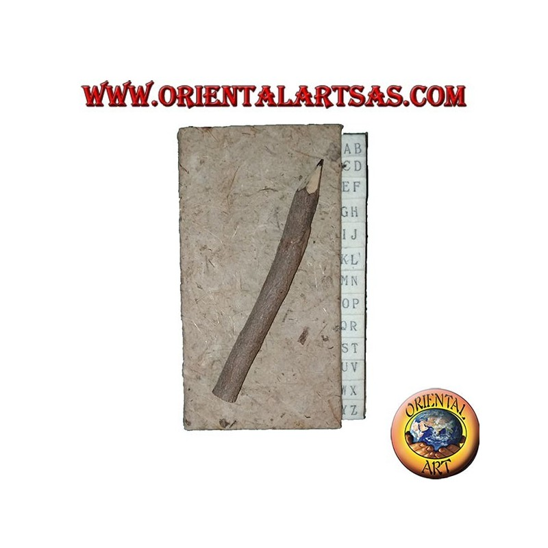 Telephone book in tree bark with pencil in the trunk, 11 cm