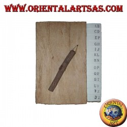 Telephone book in tree bark and large letters with pencil, 14 cm