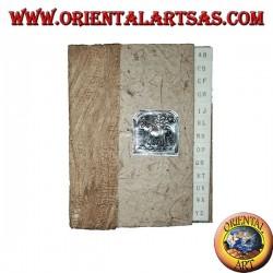 Annuaire téléphonique en écorce d'arbre et plaque avec éléphant et arbre, 14 cm