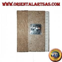 Telefonbuch in Baumrinde und Plakette mit Elefant, 14 cm