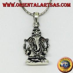 Pendentif en argent avec statuette de Ganesha ou Ganesh (grand)