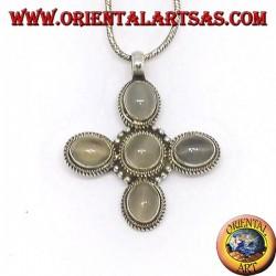 Ciondolo in argento croce con cinque splendide pietre di luna (adularia)