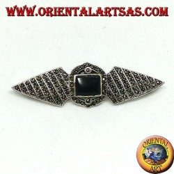 Silver brooch with marcasites and rectangular onyx