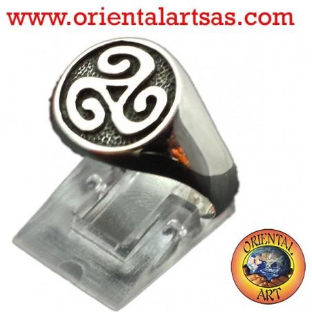Anello in argento sigillo Triskell