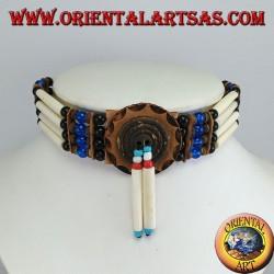 Collier ras de cou amérindien en os et perles bleues et noires