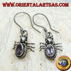 Silver earrings with oval Amethyst in the shape of a ladybug