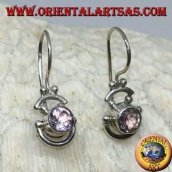 Серебряные серьги с круглым выдувным аметистом и серебряными полукругами