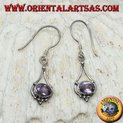 Silver earrings with oval Amethyst with hanging silver threads