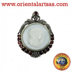 Cameo silver brooch with garnet and marcasite