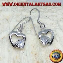 Silver earrings with a heart in Zircon in the heart of silver