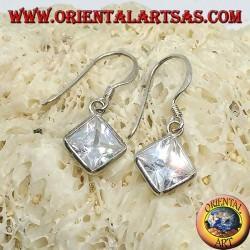 Silver earrings with rhombus zircon