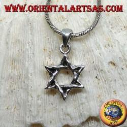 Серебряный кулон, избитая звезда Дэвида (еврейская звезда)