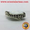 spilla in argento cammeo con granato e marcassite