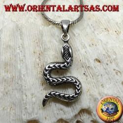 Ciondolo in argento, serpente strisciante a S