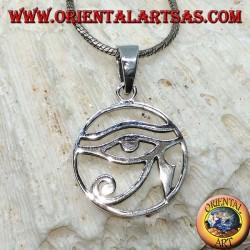 Colgante de plata, ojo de Horus liso en el círculo.