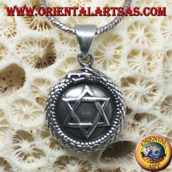 Silver pendant, talisman Uroboro Ouroboros with pentacle on plate