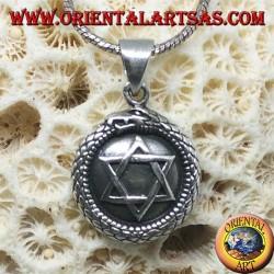 Silver pendant, talisman Uroboro Ouroboros with pentacle on plate