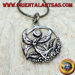 Silver pendant, flying fairy on the flower in the circle
