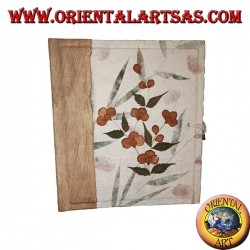 Photo album in rice paper with flower petals and embroidery, 27 cm