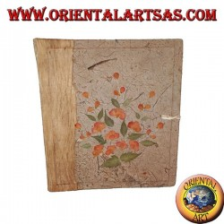 Photo album in tree bark and embroidery of flower petals, 27 cm
