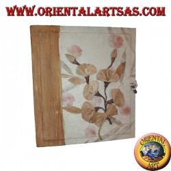 Album fotografico in carta di riso e corteccia con fantasia floreale, 27 cm